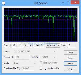 برنامج إختبار ومعرفة سرعة الهارد واليو إس بى HD Speed 1.7.8.1074