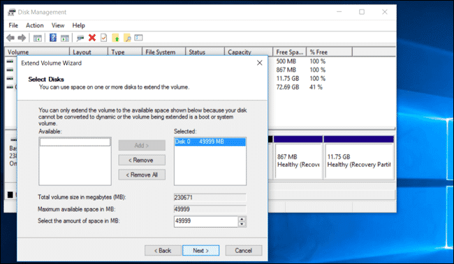 كيفية الجمع بين أكثر من قسم علي الهارد (بارتشن) علي نظام تشغيل Windows 10
